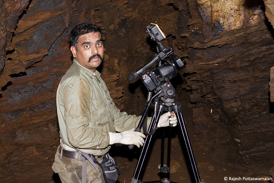 Filming and photographing inside a deep cave with 85-90% humidity and 100 higher than outside temperature is quite challenging.